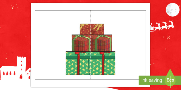 Christmas Present Pop Up Card Gift Template