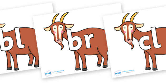 Initial Letter Blends on Hullabaloo Goat to Support Teaching on Farmyard Hullabaloo - Initial Letters, initial letter, letter blend, letter blends, consonant, consonants, digraph, trigraph, literacy, alphabet, letters, foundation stage literacy