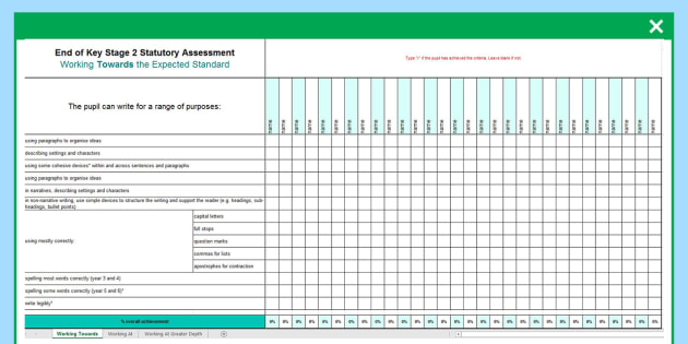 KS2 Exemplification Overview for Whole Class Spreadsheet - ks2, exemplification, overview, whole class