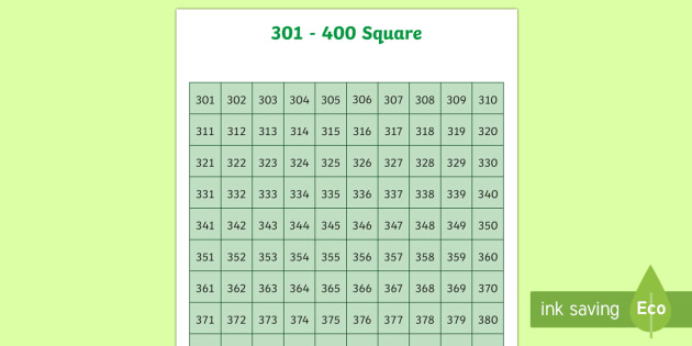 301-400 Square - number square, hundred square, number, numbers, square, count, 301-400