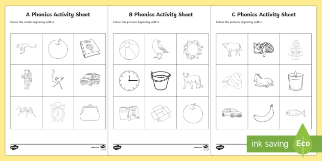Reception Phonics Worksheets Colouring Resource Pack