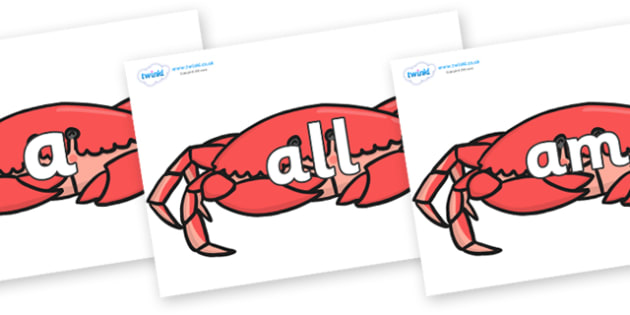 Foundation Stage 2 Keywords on Crabs - FS2, CLL, keywords, Communication language and literacy,  Display, Key words, high frequency words, foundation stage literacy, DfES Letters and Sounds, Letters and Sounds, spelling