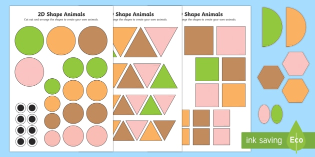 2D Shape Animals Activity Sheets