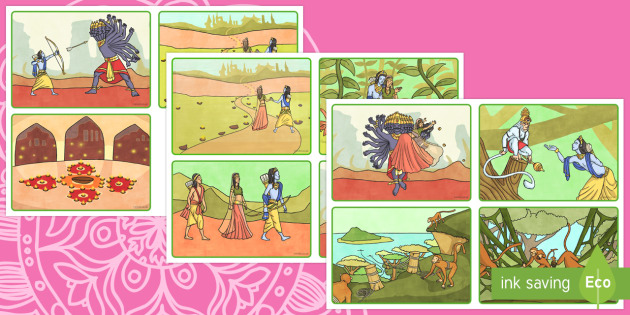 Rama and Sita Story Sequencing Cards