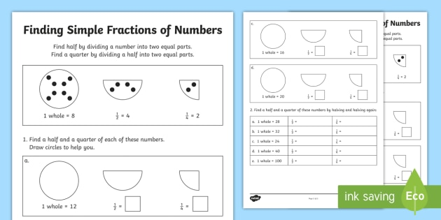 KS1 Fractions of Amounts Worksheet - Primary Resources