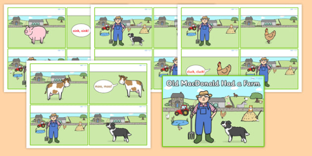 Old MacDonald Had a Farm Sequencing Cards - old macdonald had a farm, old macdonald had a farm cards, old macdonald had a farm 4 per a4, sorting cards