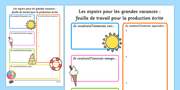 Summer Holiday Hopes Write-Up Worksheet French - french, seasons, writing sheet