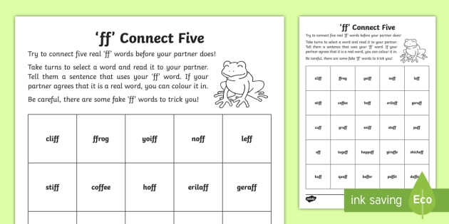 ff\' Sound Connect Five Activity Sheet - jolly phonics
