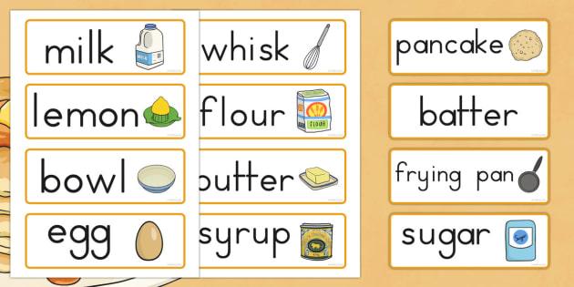 Pancake Day Recipe Word Cards - australia, pancake, day, cards