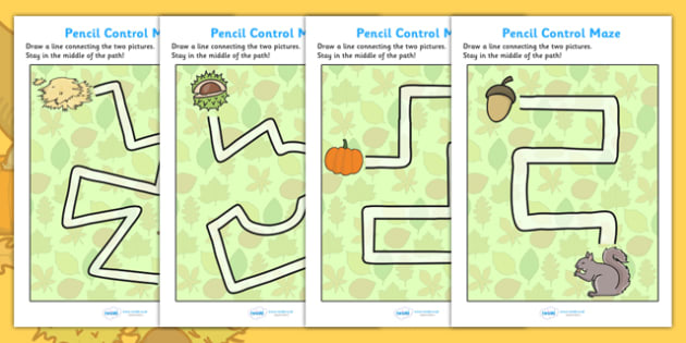 Autumn Themed Pencil Control Maze Worksheets - autumn, themed, pencil, control, maze, worksheet, autumn worksheet, pencil control, autumn maze