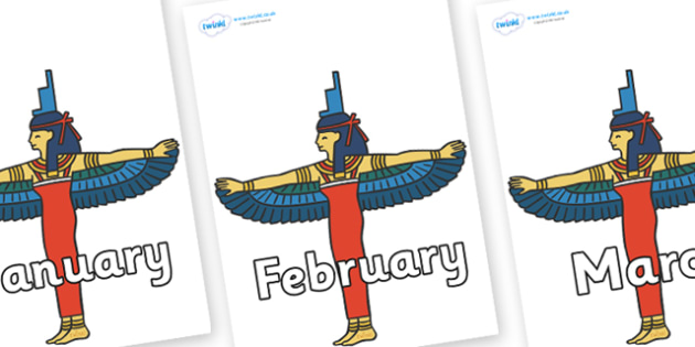 Months of the Year on Egyptians - Months of the Year, Months poster, Months display, display, poster, frieze, Months, month, January, February, March, April, May, June, July, August, September