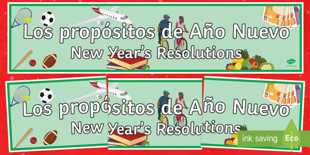New Year's Resolutions Display Banner Spanish Translation - spanish, new years resolution, near year, resolution, display banner, display, banner