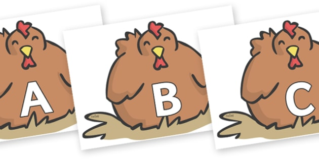 A-Z Alphabet on Chickens - A-Z, A4, display, Alphabet frieze, Display letters, Letter posters, A-Z letters, Alphabet flashcards