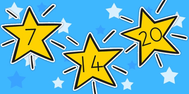 Numbers 0 30 On Stars - display numbers, 0-30, space, counting