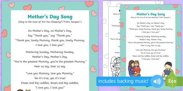 Kindergarten Mother's Day Songs (teacher made)