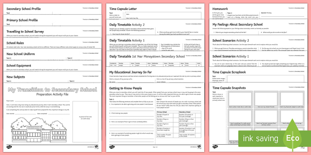 Transition to Secondary School Pupil Worksheet / Worksheets