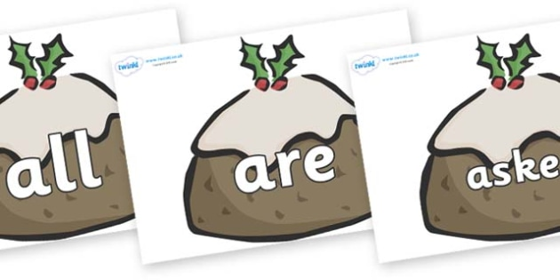 Tricky Words on Christmas Puddings - Tricky words, DfES Letters and Sounds, Letters and sounds, display, words