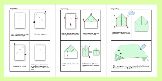 Origami Activity Instruction Sheets Frogs