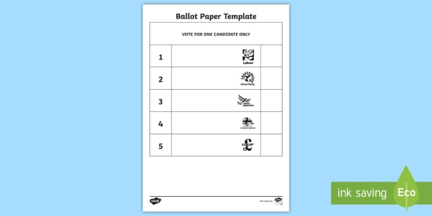 Vote slips ballot paper template role play play for Voting slips template
