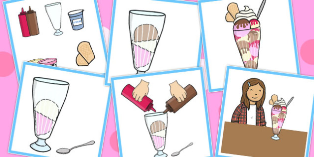 6 Step Sequencing Cards Ice Cream Sundae - Sequencing, Sundae
