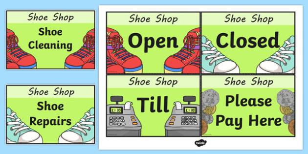 Shoe Shop Role Play Signs - Shoe shop, shoes, role play, shop, trainers, display, poster, shoe box, labels, measuring chart, word cards