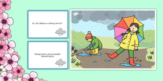 Karty z pytaniami Wiosenny deszcz po polsku - wiosna, pogoda