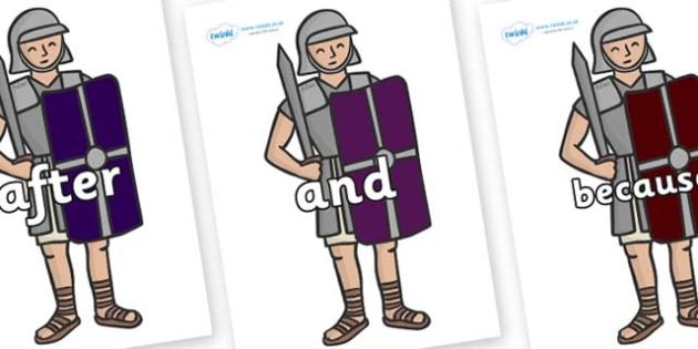 Connectives on Roman Soldiers - Connectives, VCOP, connective resources, connectives display words, connective displays