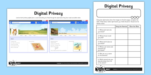 Digital Privacy - computing, ict, lesson, activity, digital privacy, digital, privacy