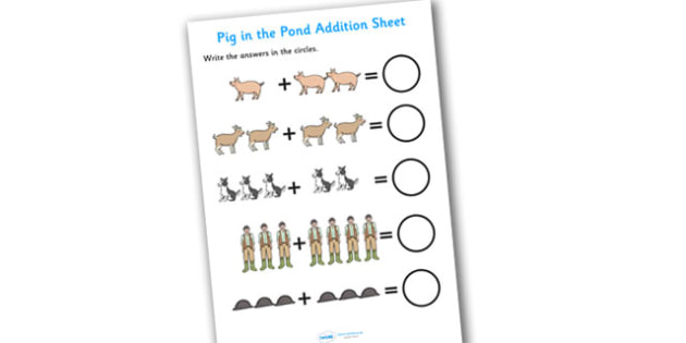 Addition Sheet to Support Teaching on Pig in the Pond - pig in the pond, addition, sheet, addition sheet, numeracy, pig in the pond addition, pig in the pond worksheet, maths