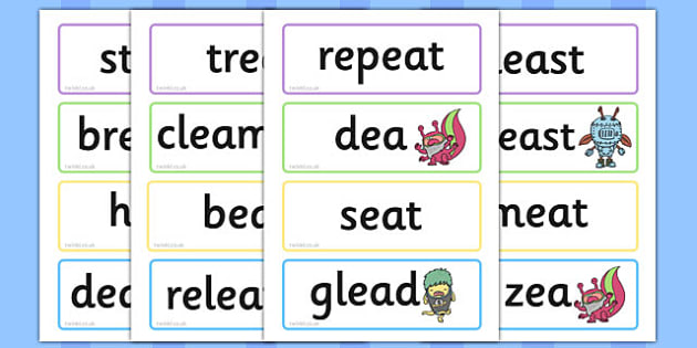 Phase 5 'ea' Flashcards Real and Nonsense Words - phase 5, ea