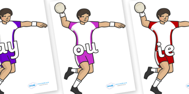 Phase 5 Phonemes on Handball Players - Phonemes, phoneme, Phase 5, Phase five, Foundation, Literacy, Letters and Sounds, DfES, display