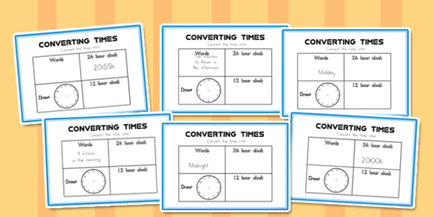 Converting Time Challenge Cards - australia, converting time, challenge