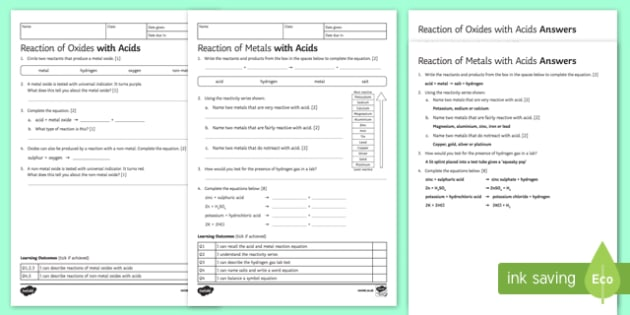 KS3 Reactions with Acids Homework Activity Sheet