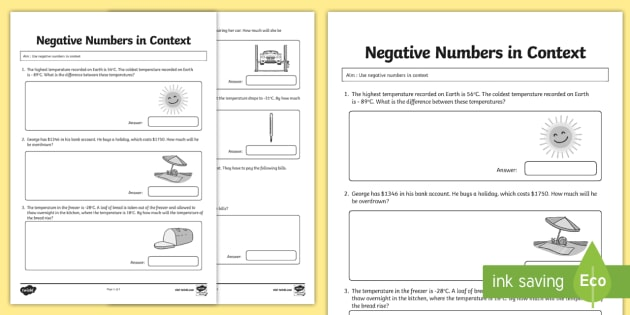 Grade 6 use negative numbers in context 2nd worksheet activity grade 6 use negative numbers in context 2nd worksheet activity sheet math money ibookread Download