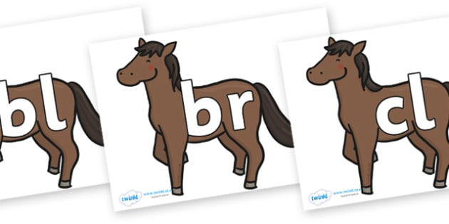 Initial Letter Blends on Chinese New Year Horse - Initial Letters, initial letter, letter blend, letter blends, consonant, consonants, digraph, trigraph, literacy, alphabet, letters, foundation stage literacy
