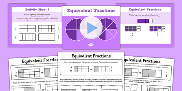 3-Equivalent Fractions PowerPoint with Worksheets