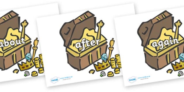 KS1 Keywords on Treasure Chests - KS1, CLL, Communication language and literacy, Display, Key words, high frequency words, foundation stage literacy, DfES Letters and Sounds, Letters and Sounds, spelling