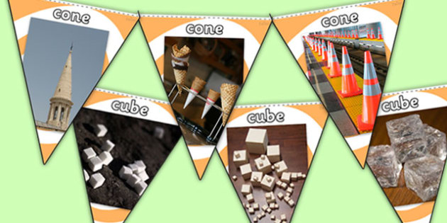 3D Shapes Photo Display Bunting - 3d shapes, 3d shape bunting, shape bunting, shapes in life, shape photos, cone photos, cube photos, 3d shapes display