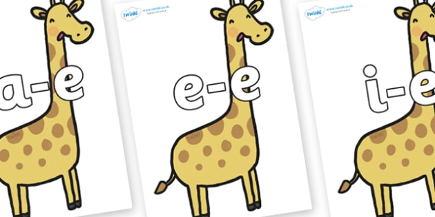 Modifying E Letters on Giraffes - Modifying E, letters, modify, Phase 5, Phase five, alternative spellings for phonemes, DfES letters and Sounds