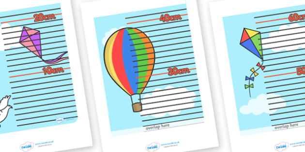 Sky Themed Height Chart - education, home school, free, fun
