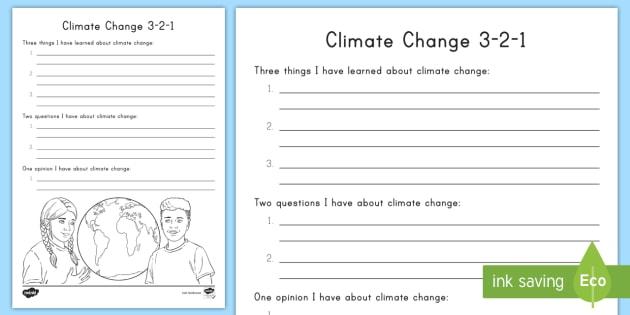 Climate Change 3 2 1 Worksheet Worksheet Climate