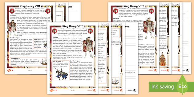 UKS2 Henry VIII Differentiated Reading Prehension Activity