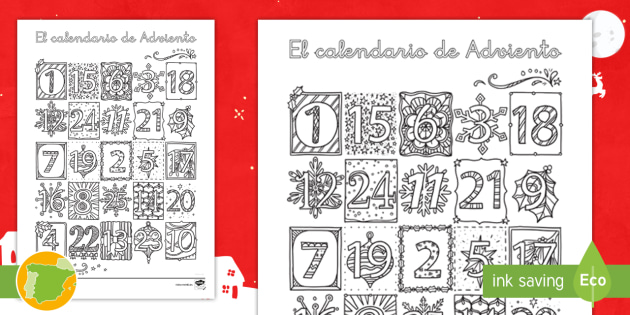 Adviento Calendario.Hoja De Colorear Calendario De Adviento Mindfulness