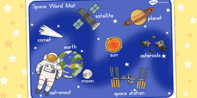 Space Scene Word Mat - Words, Vocabulary, Literacy, Planets