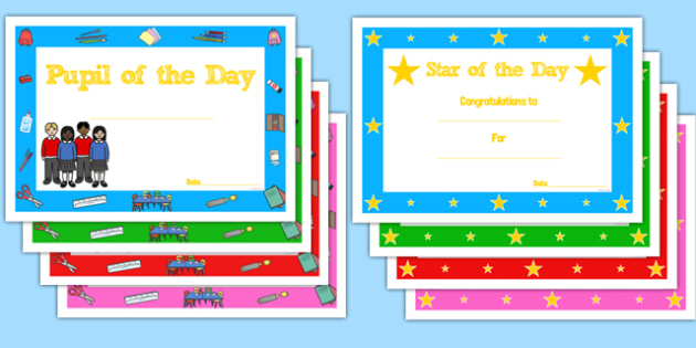 star of the day certificate star of the day certificate reward award