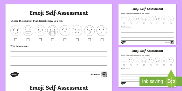 Emoji SelfAssessment Worksheet  Activity Sheet  Ks Self