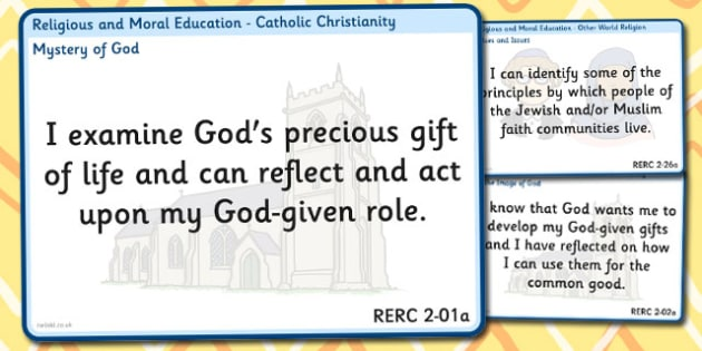 CfE Religious Moral Education Experiences Outcomes Display Second