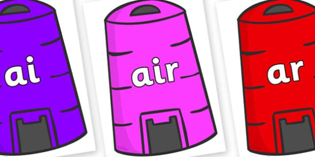 Phase 3 Phonemes on Recycling Bins - Phonemes, phoneme, Phase 3, Phase three, Foundation, Literacy, Letters and Sounds, DfES, display