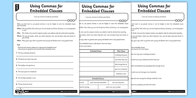 Using Commas for Embedded Clauses - GPS, spelling, grammar, embedded ...
