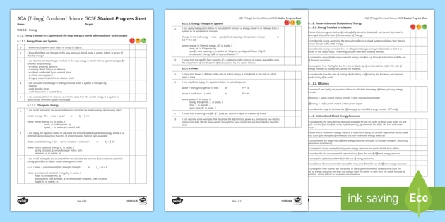 AQA Trilogy Unit 6.1 Energy Student Progress Sheet - Student Progress Sheets, AQA, RAG sheet, Unit 6.1 Energy, revision, energy, physics